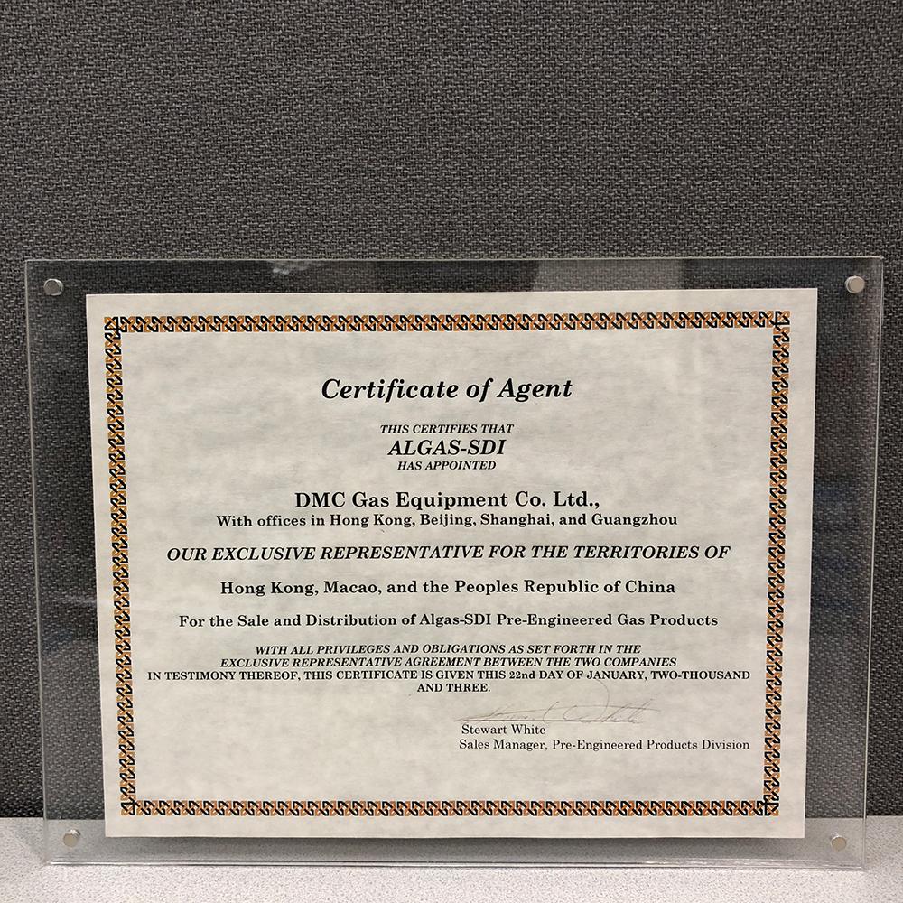 Algas-SDI Certificate of Agent